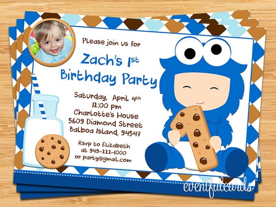 Cookie Monster 1st Birthday Party Invitation by EventfulCards