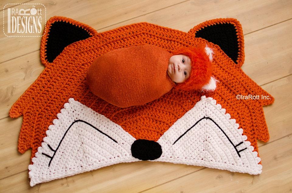 Free Crochet Patterns For Baby Rugs : CROCHET PATTERN Foxy Fox Rug Nursery Mat Crochet PDF Pattern