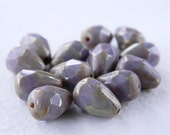 Picasso  Lilac Drop Beads, Czech Glass Beads, Fire Polished Pear Shaped Beads, 12x8mm, Opaque Lilac with Silver Picasso (10pcs) NEW