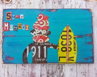 Blue Red Aqua SURF MONKEY Beach Nautical Surfing Sock Monkey Nursery Bathroom Playroom Recycled License Plate Art Customizable Personalized