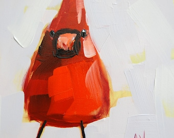 Cardinal no. 62  bird art print by Angela Moulton 6 x 6 inches