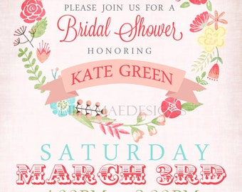 Bridal Shower Invitation - Floral Wreath - Digital File