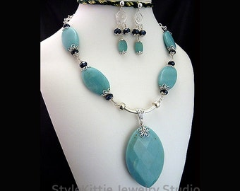 Aqua Blue Amazonite, Faceted Black Crystal, Pendant Necklace, Dangle Earrings, 925 Sterling Silver, Filigree, Gemstone, 2 Piece Set, Jewelry