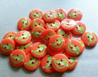 26 pcs Cute Retro Orange Buttons 18mm