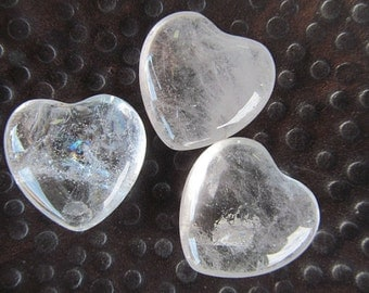 Quartz Crystal Heart Polished Gemstone Heart Small Paperweight or Lucky Stone For Purse Pocket or Tabletop