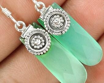 Aqua Chalcedony Drop Earrings in Sterling
