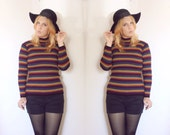 vintage multi-colored striped TURTLENECK shirt small  - FREE SHIPPING
