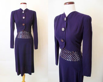 Incredible 1940's Deep Plum Purple Suit with Silver Studs on Skirt and Jacket Old Hollywood Glamour Starlet Pinup Girl Size-Small