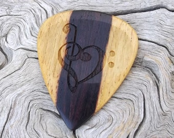 Handmade Premium Laser Engraved Brazilian Kingwood Guitar Pick - Actual Pick Shown - No Stock Photos