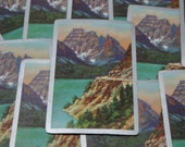 Vintage Playing Cards set of 6 mountain scene scenic photograph ocean lake water front souvenir playing cards Paper Ephemera for your crafts