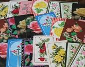 Vintage Playing Cards ROSES paper ephemera garden ephemera retro roses 50's scrapbooking collage altered art paper Crafts 2 ea of 11 designs