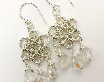 Silver Plated Japanese 12-in-2  Chainmaille Earrings Chandelier Style