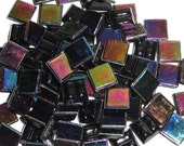 "100 MINI Black Rainbow Iridescent Vitreous Glass Tiles 3/8""//Mosaic//Mosaic Supplies//Crafts"