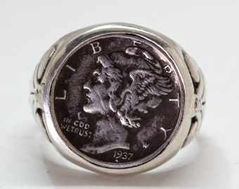 Mercury  dime ring sterling silver coin rings by  Blue Bayer Design NYC