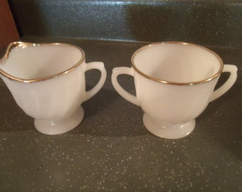 Vtg Fire King Cream and Sugar Set, Ivory Swirl, Gold Trim, Golden Anniversary, 1950s