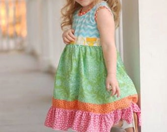 Girls Dress Pattern, Matilda Jane Pattern, Ruffle Dress, Girls Sewing Pattern, K Pea Inspired Pattern, Blue Ribbon, Little Lizard King
