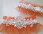 Burnt Orange WEDDING Garter Set, Orange Garter with Crystals, White Bridal Garter for Fall / Harvest / Country / Rustic Wedding