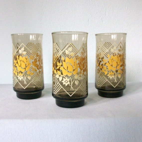 Vintage Glass Set * 70s Geometric Rose Glassware * 1970s Drinking Glasses * Set of 3