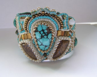 Embroidered cuff with turquise and bronzite gem stones, ooak