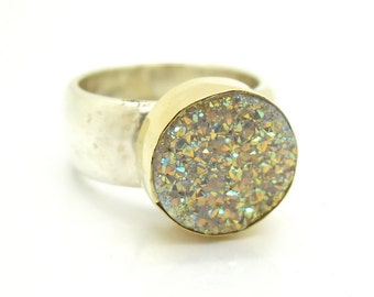 Druzy opal silver ring set in gold on a hammered band