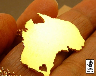 BIG AUSTRALIA Map Handmade Personalized Goldplated Sterling Silver .925 Necklace in a gift box