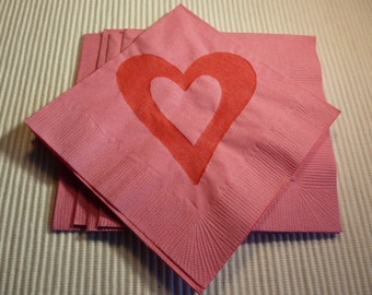 Valentine or Wedding Heart Paper Cocktail/ Lunch/ Dinner Napkins - Red and Pink