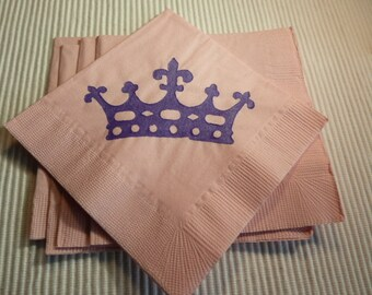 Princess Crown Pink Paper Beverage/ Luncheon/ Dinner Napkins
