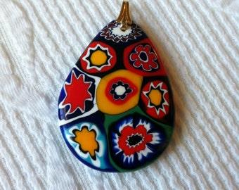 Beautiful Italian Murano Mosaic Glass Pendant