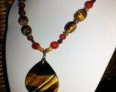 Big Bold chunkyTiger Eye and Carnelian Necklace, Tiger Eye Pendent, Garnet and silver