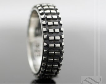 dirt bike tire tread ring sterling silver - Mud Tire Wedding Rings
