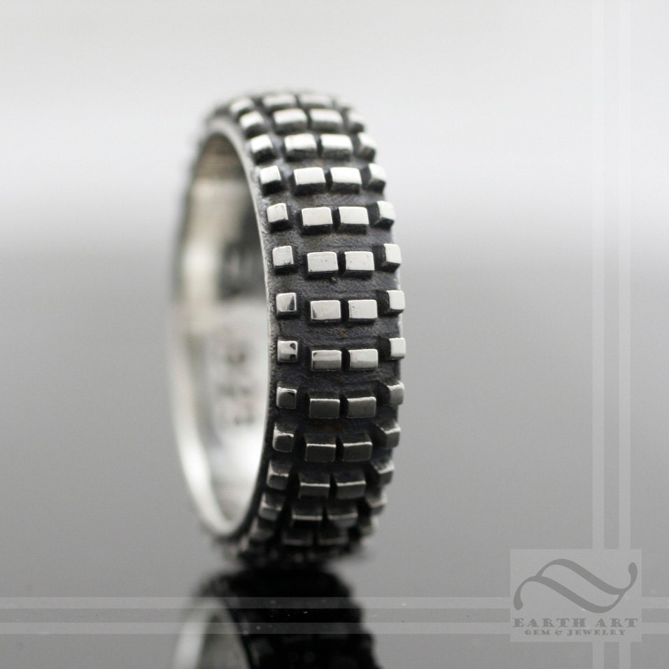 tire tread ring tire tread wedding band Dirt Bike Tire Tread Ring Sterling Silver