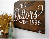 Reclaimed Barn Wood Sign- FAMILY Name Sign - Planked Typography Sign-100 year old Barn Wood Wall Decor