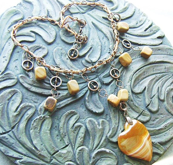 Banded Agate Heart Gemstone Choker on Chain and Leather with Tigerskin Jasper -Butterscotch Candy -Caramel, Tan, White on Copper