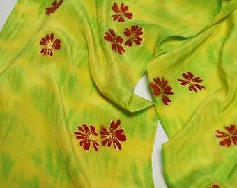 Lemon and Lime Shibori Silk Scarf w/ Cherry Blossums