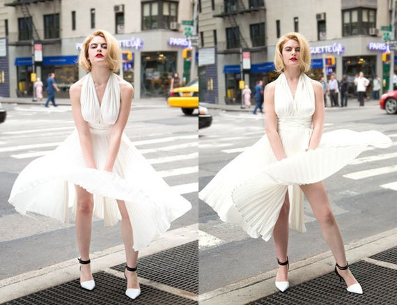 Custom Made Marilyn Monroe Pleated White Halter Subway Dress Reproduction in Heavy Silk Crepe