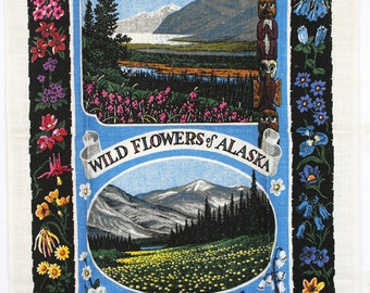 Kay Dee pure linen towel, wildflowers of Alaska. NOS, excellent condition.