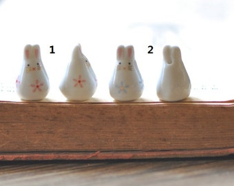 10pcs Porcelain Ceramic Bunny Rabbit beads Pink Blue Flowers -80132