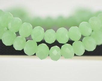 Rondelle Crystal Glass Faceted beads 8x10mm Green- BZ1040/ 70pcs
