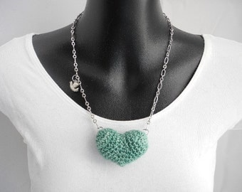 Turquoise Blue Plush Heart Necklace