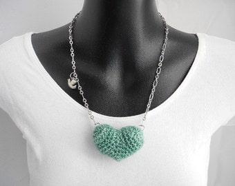 Turquoise Blue Plush Heart Necklace