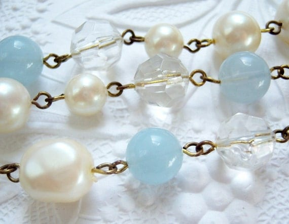 Vintage lucite, baroque pearl and blue beaded chain, (12) inches -BC187