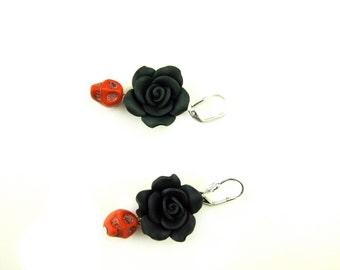 Handmade Polymer Clay Black Flowers and Blue Skulls Earrings
