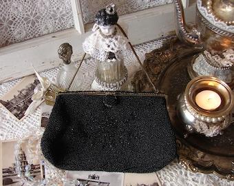 Vintage Black Beaded Purse Made in France, French Beaded Handbag, Evening Bag