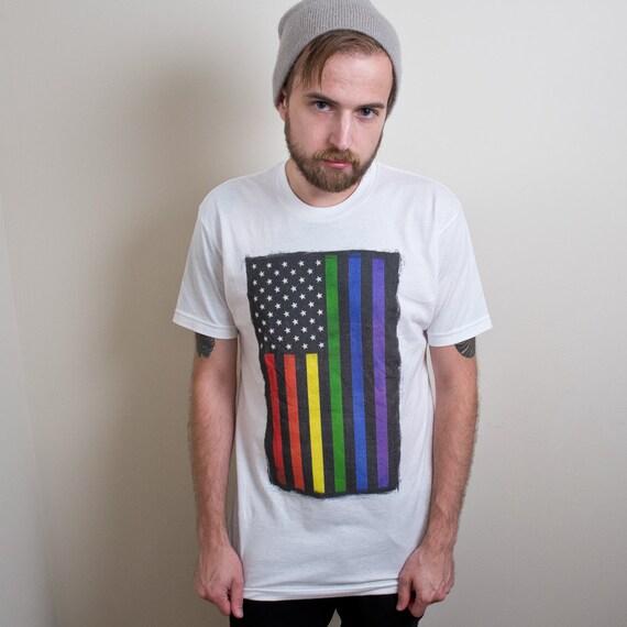 Rainbow Pride Shirt, Rainbow American Flag T-shirt, lgbt shirt, equality tee SEE ITEM Details