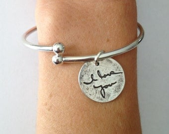 Your loved ones Actual  Handwriting message of love Sterling Silver Charm Cuff Bracelet with Removable Threaded Ball End - Made to order