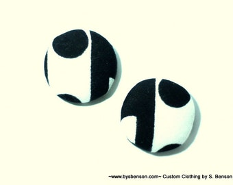 Fabric Covered  Button Earring - African Black and White Dot
