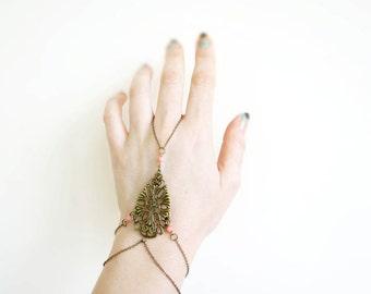 Hand Chain Slave Bracelet, Handflower Bracelet, Coral Hand Chain Bracelet, Paisley Bracelet Tiny Armor Collection