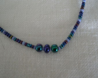 Vintage Friendship Bead Choker in Florescent Blue Hues