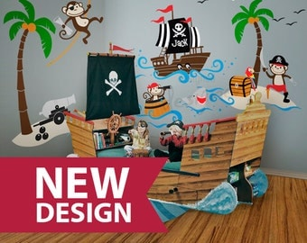 popular items for pirate wall decals on etsy. Black Bedroom Furniture Sets. Home Design Ideas