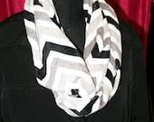 Chevron Stripe Infinity Minky  Circle Scarf - Fashion Scarf - Gray Black  White - Fabric Scarf - Multicolor Scarf - Extra Soft  - Cowl Scarf